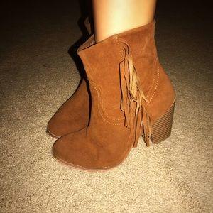 Vintage Suede Boots with fringe